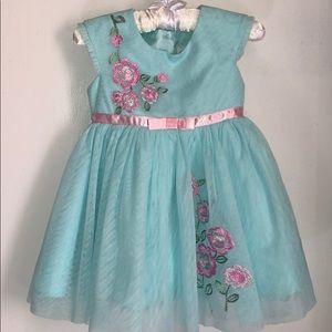 Jona Mitchelle Dress Aqua Tulle & Pink Flowers
